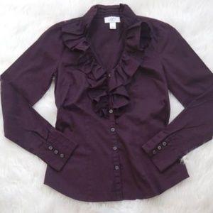 Ann Taylor Loft Purple Ruffle Front Blouse